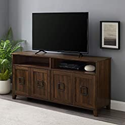 Farmhouse Living Room Furniture Walker Edison Modern Farmhouse Squared Wood Stand with 4 Cabinet Doors 65″ Flat Screen Universal TV Console Living Room Storage Shelves Entertainment Center, 58 Inch, Dark Walnut farmhouse tv stands