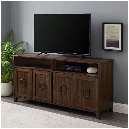 Farmhouse Living Room Furniture Walker Edison Modern Farmhouse Squared Wood TV Stand with 4 Cabinet Doors for TV's up to 65″ Flat Screen Universal TV Console Living Room Storage Shelves Entertainment Center, 58 Inch, Dark Walnut farmhouse tv stands