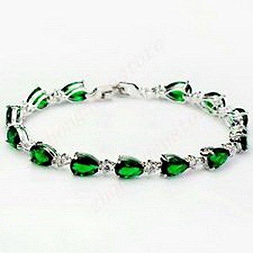 Scott ALlah Bracelets - Bracelets green Emerald Chain Women Bangle White Gold Filled Wedding Costume (Geek Costume Accessories)