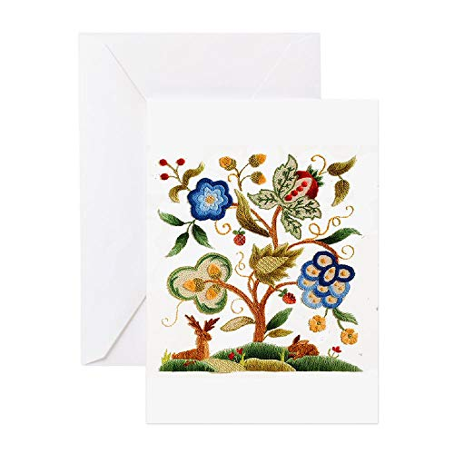 CafePress Tree Of Life Embroidery Greeting Card, Note Card, Birthday Card, Blank Inside Glossy