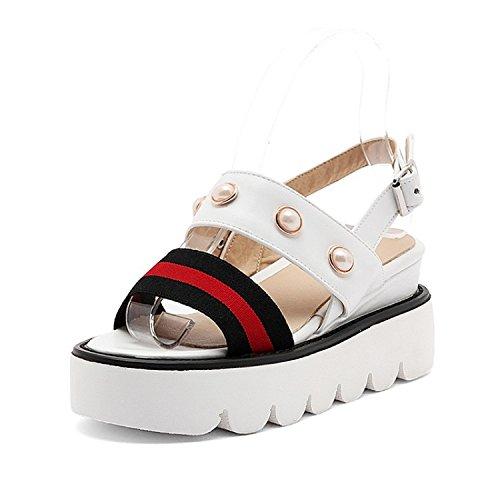 Mei& S La Mujer Tacones Chunky Talón Zapatos con Plataforma Blanca 39