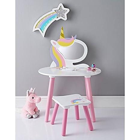 Childrens Bedroom Unicorn Vanity Set With Stool Mirror Wooden Furniture