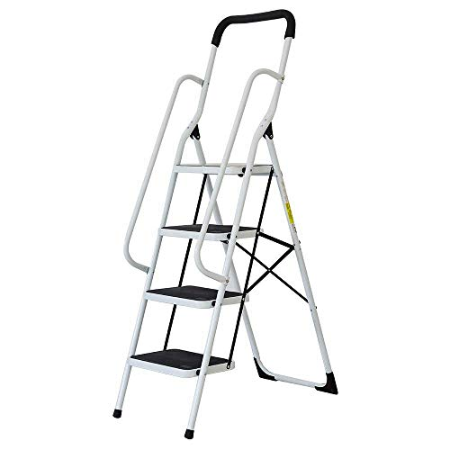 Livebest 4 Steps Ladder Folding Step Stool with Hand Grip Non-slip Safety Rails Portable Heavy Duty 330 lb Load Capacity,Iron,Household Kitchen Use by Livebest