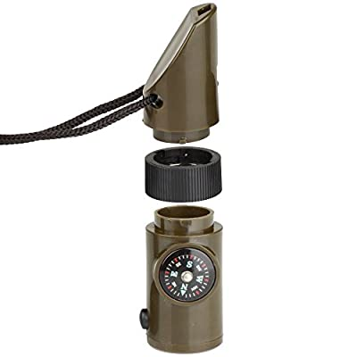 Flexzion Camping Emergency Whistle Compass Thermometer Magnifier Reflector LED Flashlight - 7 in 1 Survival Guide Tools Kit for Outdoor Hiking Fishing Hunting in Army Green by Flexzion