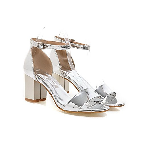 Sandals Sandals Solid Not Peep Cold Lining Silver Ankle Water Womens Resistant Wrap ASL04285 Buckle Rubber BalaMasa Heel Toe High Urethane T5zAEq