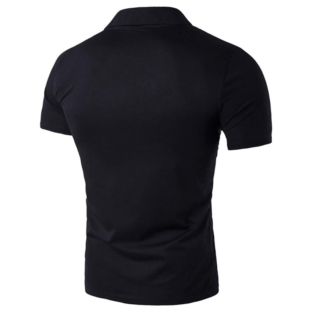 HOODUO Polo Shirt Homme Manche Courte Casual T-Shirt Coupe Mince Slim Fit Tee Haut Tops