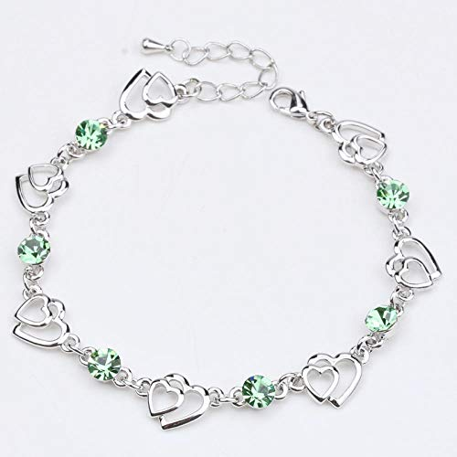 Lady Crystal Bracelet Inlay Colored Gemstone Heart Shape Fashion Joker Hand Jewelry@Olive