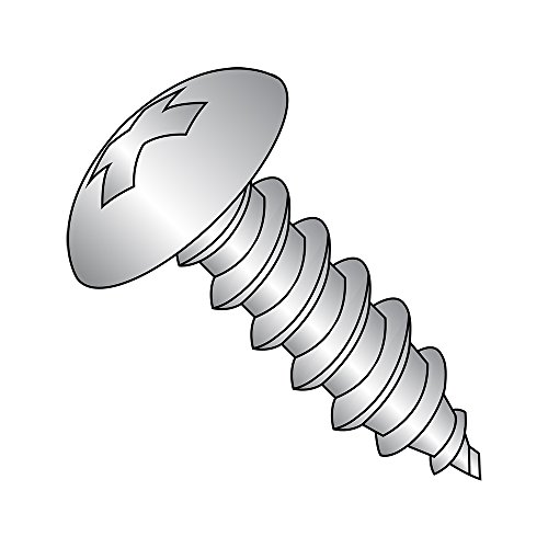 18-8 Stainless Steel Sheet Metal Screw, Plain Finish, Truss Head, Phillips Drive, Type AB, #6-20 Thread Size, 3/8'' Length (Pack of 100) by Small Parts