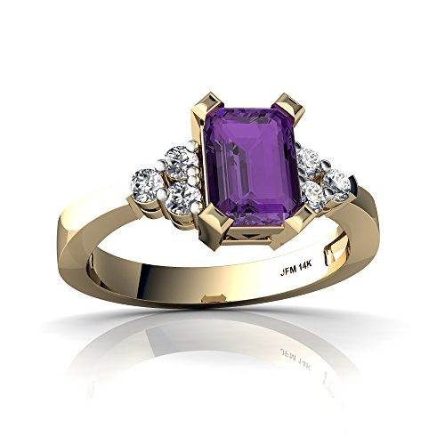 Emerald Ring 14kt Gold Jewelry (14kt Yellow Gold Amethyst and Diamond 7x5mm Emerald_Cut Simply Elegant Ring - Size 8)