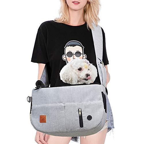 Purrpy Dog Carrier Bag Pet Sling Carrier Cat Travel Bag Hands Free Shoulder Bag Adjustable, with Built-in Poop Bag Dispenser and Phone Pouch (Grey)