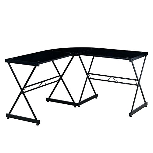 Techni Mobili Black L-Shaped Glass Computer Desk