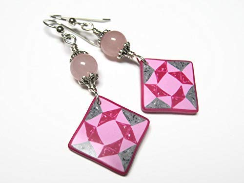 (Pink Quilt Block Earrings, Sterling Silver, Rose Quartz Quilters Jewelry, Limited Edition Polymer Clay Windblown Square)