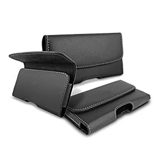 HITFIT Pu Leather Pouch Cover Holster Belt Clip Case Magnetic Cover for Samsung Galaxy S21 Ultra 5G – Black