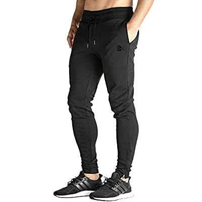 BROKIG Mens Zip Joggers Pants - Casual Gym Workout Track Pants Comfortable Slim Fit Tapered Sweatpants Pockets