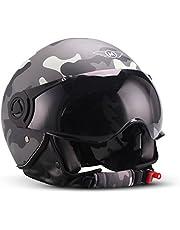 "Moto Helmets® H44 ""Camouflage"" · Jet-Helm · Motorrad-Helm Roller-Helm Scooter-Helm Moped Mofa-Helm Chopper Retro Vespa Vintage Pilot Biker · ECE 22.05 Visier Schnellverschluss Tasche XS–XL (53-62cm)"