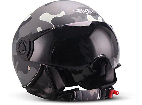 MOTOHelmets® H44 Jet-Helm · Motorrad-Helm Roller-Helm Scooter-Helm Bobber Mofa-Helm Chopper Retro Cruiser Vintage Pilot Biker · ECE Visier Schnellverschluss Tasche XS–XL (53-62cm)