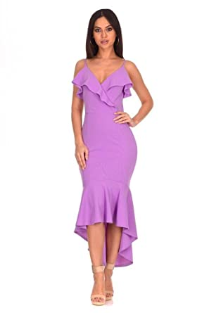 27a81a10c22d AX Paris Women's Wrap Fishtail Midi Dress at Amazon Women's Clothing store: