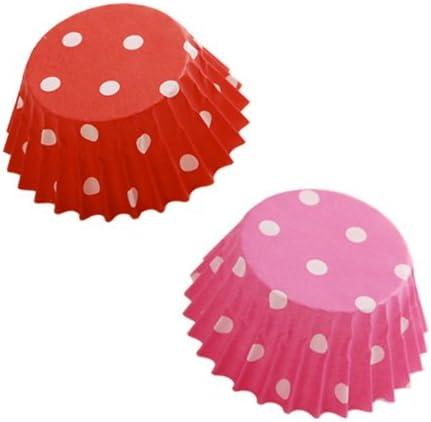 cuocaミニマフィングラシン水玉2色セット(赤・ピンク) / 80枚 TOMIZ/cuoca(富澤商店) ベーキングカップ グラシンカップ