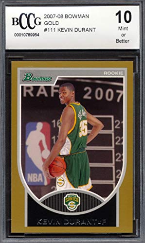 2007-08#111 Bowman Gold /99 Kevin Durant Rookie Card Graded BCCG 10 * 954 ()