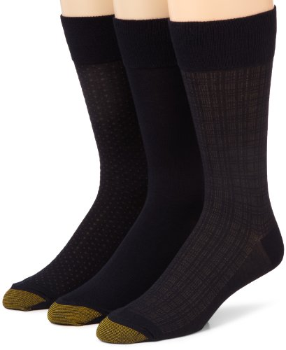 Gold Toe Men's 2198S Crew Fashion Patterned Dress Sock, 3 Pack, Navy, Size 10-13