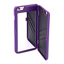 "iPhone (5.5""): Dual Function Cosmetic Mirror Case Card Wallet Back Cover Shell For iPhone 6 Plus & iPhone 6S Plus (Purple)"