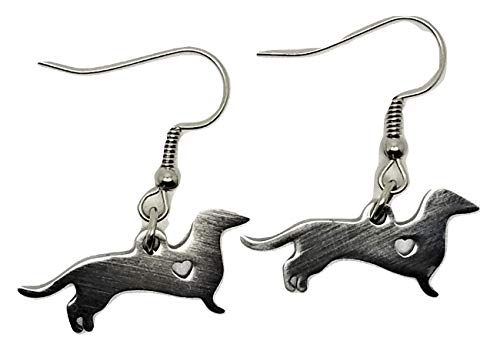 Retriever Earrings Hanging - Dachshund w/Cutout Heart Stainless Steel Hanging Dangle Earrings - New - Pair!