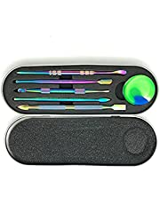 5 Pieces Dab Tool for Wax Carving, Rainbow Stainless Steel Modeling Tools Wax Carving Tool with 3ml Silicone Container for Sculpting Modeling Scraping Shaping