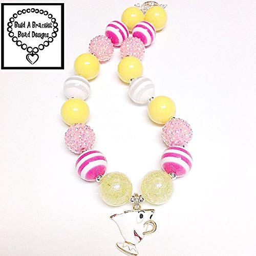 (Girls, Toddler, Baby Beauty & the Beast Silly Chip Teacup Bubblegum Necklace Yellow White Pink Striped Rhinestone All Occasion Chunky Accessory RTS Free Shipping By)