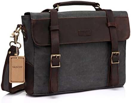 Vaschy Casual Genuine Leather Canvas Messenger Bag 14 inch Laptop Shoulder Bag Bookbag