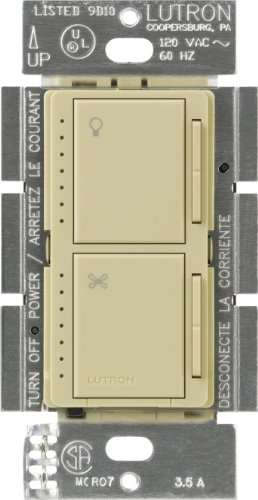 Ivory Wall Control - Lutron MA-LFQM-IV Maestro 300-watt Multi-Location 7-Speed Combination Fan and Light Control, Ivory