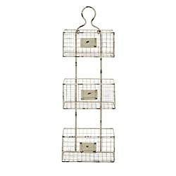 Benzara Three Tiered Metal Wire Basket Shelf with White Weathered Accent