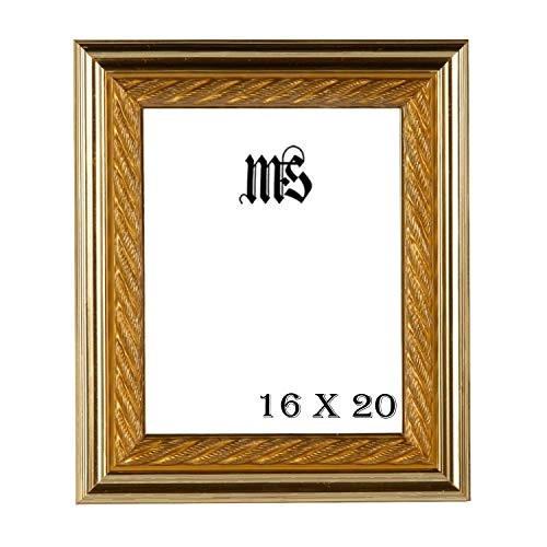 - MyFrameStore 16x20 Imperial Wooden Picture Frames - Bright Gold | Exclusive Thick Rope Design for Wedding, Hallway, Bedroom, Living Room & Office Décor. Wall Photo Frame & Wall Mounting Material,