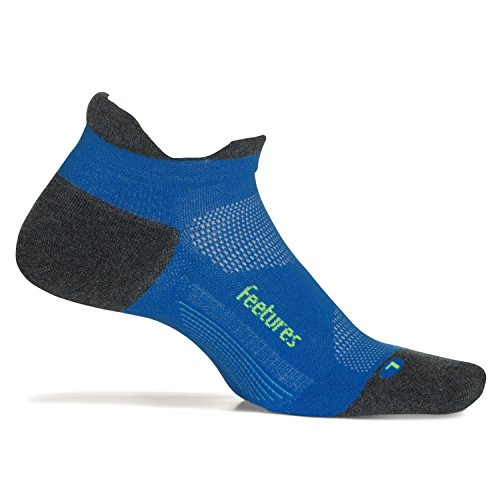 Feetures Elite Max Cushion No Show Tab Athletic Running Socks for Men and Women - True Blue - Size Xlarge