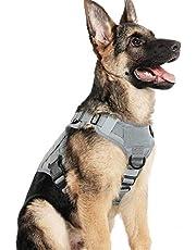 rabbitgoo Tactical Dog Harness Vest Harnas Met Handvat No-Pull Verstelbaar Hondenvest Met Metalen Gespen Luspanelen No-Pull Harnas Met Leash Clips Voor Medium Grote Honden Wandelen Wandelen Jagen, Medium