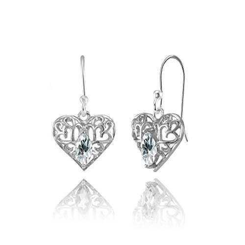 Heart Marquise Earrings (Sterling Silver Aquamarine 6x3mm Marquise Heart Filigree Dangle Earrings)