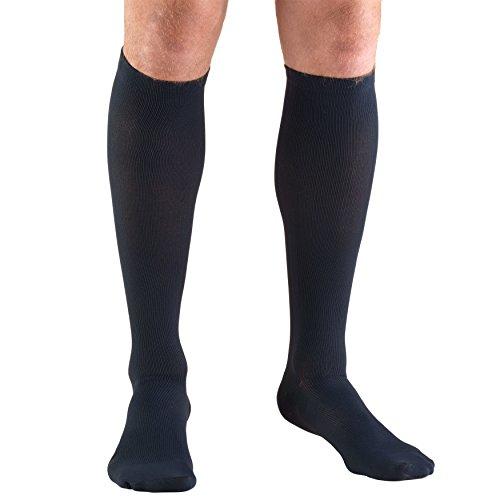 (Truform Men's Knee High 30-40 mmHg Compression Dress Socks, Navy, Large)