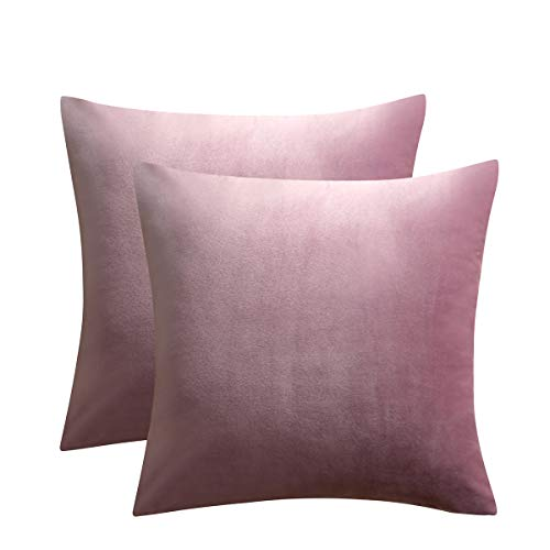 JUSPURBET Pink Purple Velvet Pillow Covers 26x26 Inches,Pack of 2 Throw Pillow Covers for Sofa Couch Bed,Decorative Super Soft Throw Pillows Cases (Case 26x26 Pillow)