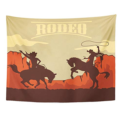 (Emvency Tapestry Wall Hanging Rodeo with Cowboy and Cowgirl Silhouettes Riding on Wild Horse and Bull 60