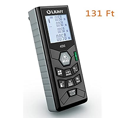 Laser Distance Meter Liumy 131 Ft Rangefinder, LCD Backlit Handheld Measuring Device, Level and Mute Functions for Single-distance Measurement / Continuous Measurement / Area / Pythagorean Modes