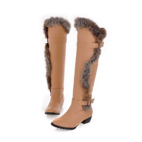 Charm Foot Fashion Faux-fur Womens Low Heel Knee High Riding Boots Beige 8aIqBf
