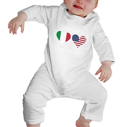 Moniery American Italian Flag Heart Long Sleeve Onesies Bodysuits for Baby Unisex