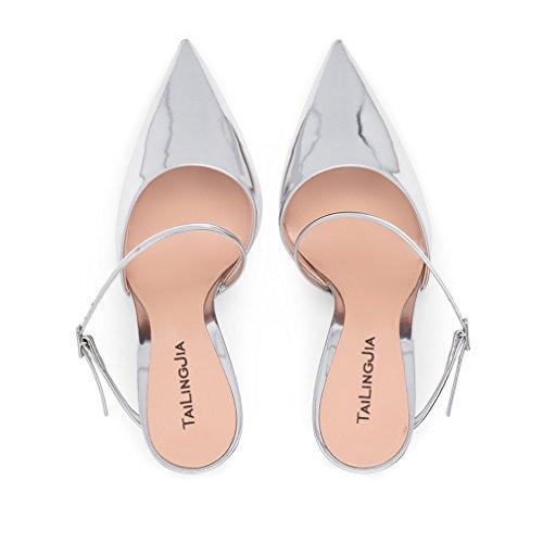 Femmes Sey De Danse Hauts Mariage Femmes Latine 46 CLOVER Filles Stiletto Talon EU43 Talon Party Silver A Chaussures Sandales Bureau Soirée LUCKY Argent EU34 8Ozwq