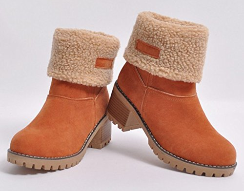 Aisun Mujeres Casual Warm Fleeced Pull On Round Botas Botines De Invierno De Tacón Medio Nieve Botines Zapatos Naranja