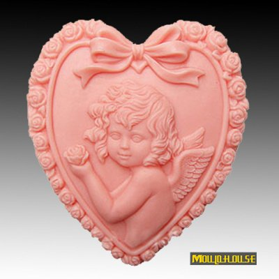 Pinkie Tm heart shaped angel girl Handmade soap silicone mold , silica gel mould,silicon candle moulds for soap wholesale