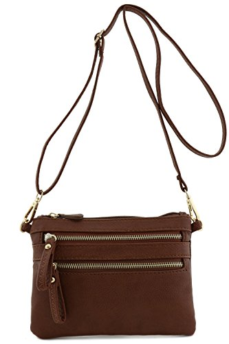 Multi Zipper Pocket Small Wristlet Crossbody Bag (Coffee)