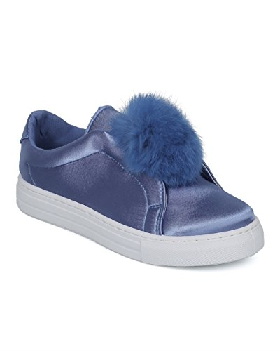 Alrisco Kvinnor Pom Pom Låg Top Sneaker - Furry Slip På Sneaker - Tillfällig Dagliga Mångsidig Sneaker - Hc90 Av Qupid Samling Blå Satin