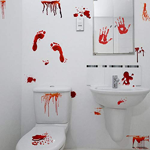 Blood Stains Halloween (Halloween Bloody Handprints Footprints Decals, Zombie Hunter Scary Bloodstains Sticker for Living Room, Door, Windows Decor, Halloween Party)