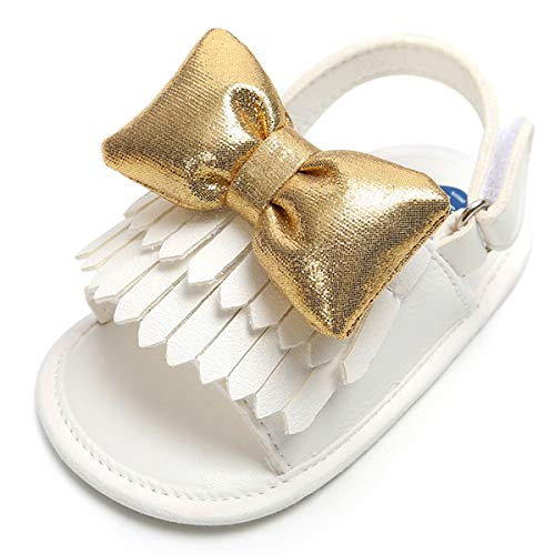 (Infant Baby Girls Sandals Bowknots Summer Shoes Soft Sole T-Strap Toddler First Walker Crib Shoes(12-18 Months M US Toddler, E-White))