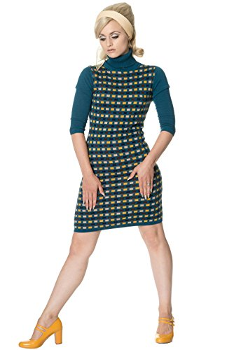 NECK Banned Dancing POLO by DRESS Kleid Türkis Strick 5175 Days PRIM x00wYE