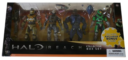 Halo Reach McFarlane Toys Series 1 Exclusive Action Figure 4Pack Collector Box Set Jorge, Emile, Elite Minor GREEN Spartan Mark V